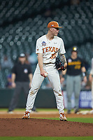 Texas Longhorns relief pitcher Tristan Stevens (35) looks to his catcher for the sign against the Missouri Tigers in game eight of the 2020 Shriners Hospitals for Children College Classic at Minute Maid Park on March 1, 2020 in Houston, Texas. The Tigers defeated the Longhorns 9-8. (Brian Westerholt/Four Seam Images)