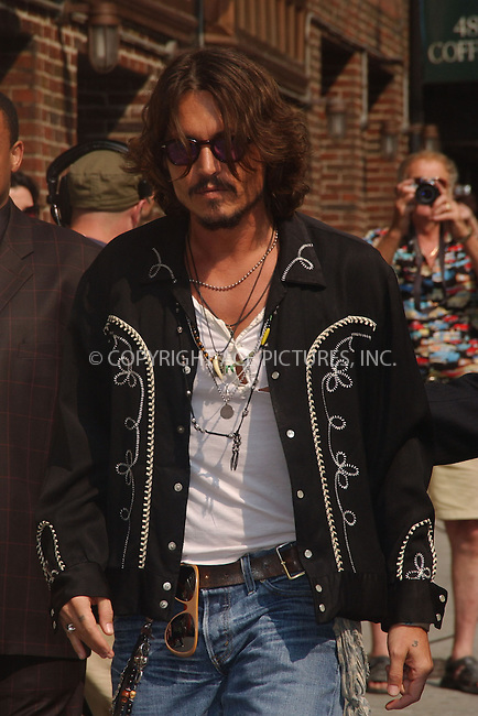 WWW.ACEPIXS.COM . . . . . ....July 27, 2006, New York City. ....Johnny Depp signs autographs and meets fans as he arrives at the David Letterman show. ......Please byline: KRISTIN CALLAHAN - ACEPIXS.COM.. . . . . . ..Ace Pictures, Inc:  ..(212) 243-8787 or (646) 769 0430..e-mail: info@acepixs.com..web: http://www.acepixs.com