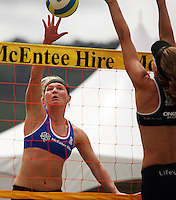 Germany's Helke Classen tries to beat Susan Blundell at the net during the 2009 McEntee Hire NZ Beach Volleyball Tour - Women's final at Oriental Parade, Wellington, New Zealand on Sunday, 11 January 2009. Photo: Dave Lintott / lintottphoto.co.nz.