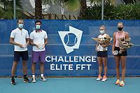 18th July 2020, Cannes, France;   Hugo Grenier France, Quentin Halys France - Kristina Mladenovic France and Fiona Ferro France at the Challenge Elite FFT tournament