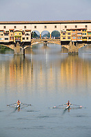 Rowing and Ponte Vecchio, Florence, Italy, Europe, 2007, ©Stephen Blake Farrington