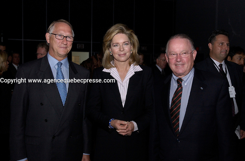 Sept 23 . 2002, Montreal, Quebec, Canada; <br /> <br /> Gerald Tremblay, Montreal Mayor (L)<br /> Her Majesty Queen Noor of Jordan, Mentor Foundation (M) and<br /> Bernard Landry, Quebec Premier (R)<br /> pose for photographers before the opening of the World Forum on Drug and Dependancy, September 23rd 2002 in Montreal, Canada<br /> <br /> <br />  Sept 09 2002, in Montreal, Canada,<br /> <br /> <br /> <br /> <br /> <br /> <br /> <br /> (Mandatory Credit: Photo by Sevy - Images Distribution (&copy;) Copyright 2002 by Sevy<br /> <br /> NOTE :  D-1 H original JPEG, saved as Adobe 1998 RGB.<br />  Uncompressed and uncropped original  size file available on request.