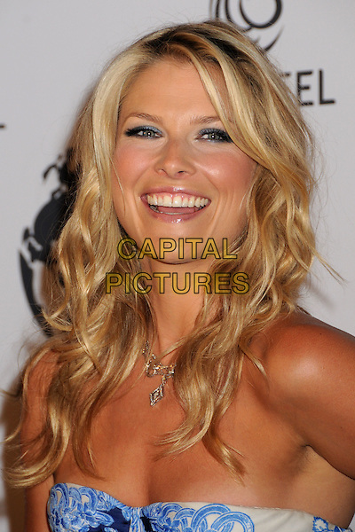 ALI LARTER .Attending The Nakheel Introduction of The Trump International Hotel & Tower Dubai held at The Tar Estate in Bel Air, California on August 23rd 2008.                                                                     .portrait headshot  strapless blue smiling necklace silver .CAP/ADM/BP.©Byron Purvis/Admedia/Capital PIctures