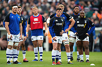 Bath Rugby players look on during the pre-match warm-up. Gallagher Premiership match, between Leicester Tigers and Bath Rugby on May 18, 2019 at Welford Road in Leicester, England. Photo by: Patrick Khachfe / Onside Images
