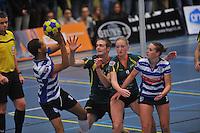 KORFBAL: GORREDIJK: Sport- en Ontspanningscentrum Kortezwaag, 27-11-2013, LDODK - AKC BLAUW WIT, Eindstand 25-28, Gerald van Dijk (#13 | AKC), André Zwart (#15 | LDODK), Betty Jansma (#9 | LDODK), Mandy Koelman (#3 | AKC), ©foto Martin de Jong