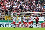 13.08.2017, Ostalb Arena, Aalen, GER, DFB Pokal, SF Dorfmerkingen vs RB Leipzig, im Bild gelassener Torjubel der Leipziger, Timo Werner (Leipzig #11), Bruma (Leipzig #17), Yussuf Poulsen (Leipzig #9), Naby Deco Keita (Leipzig #8), Dominik Kaiser (Leipzig #24), Lukas Klostermann (Leipzig #16)<br /> <br /> Foto &copy; nordphoto / Hafner