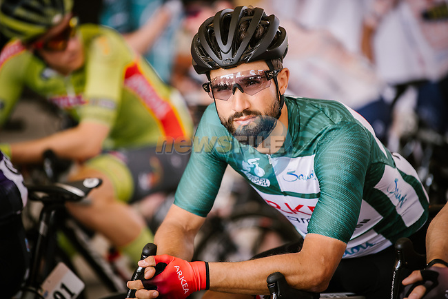 Race leader Green Jersey Nacer Bouhanni (FRA) Team Arkea Samsic ready to start Stage 5 of the Saudi Tour 2020 running 144km from Princess Nourah University to Al Masmak, Saudi Arabia. 8th February 2020.<br /> Picture: ASO/Pauline Ballet | Cyclefile<br /> All photos usage must carry mandatory copyright credit (© Cyclefile | ASO/Pauline Ballet)