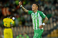 MEDELLÍN - COLOMBIA, 11-10-2018: Dayro Moreno (Der) de Atlético Nacional celebra después de anotar el primer gol de su equipo a Leones F.C. durante partido por la semifinal vuelta de la Copa Águila 2018 jugado en el estadio Atanasio Girardot de la ciudad de Medellín. / Dayro Moreno (R) payer of Atletico Nacional celebrates after scoring the first goal of his team to Leones F.C. during match for the secong leg semifinal of the Aguila Cup 2018 at Atanasio Girardot stadium in Medellin city. Photo: VizzorImage/León Monsalve/STR