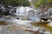 A cascade on the Swift River in Livermore, New Hampshire during the spring months. This small cascade is located near the Sawyer River Trail.