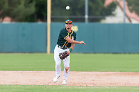 Oakland Athletics shortstop Jeremy Eierman (10) throws to first base during an exhibition game against Team Italy at Lew Wolff Training Complex on October 3, 2018 in Mesa, Arizona. (Zachary Lucy/Four Seam Images)