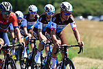 The peloton in action during Stage 1 of the 2018 Tour de France running 201km from Noirmoutier-en-l&rsquo;&Icirc;le to Fontenay-le-Comte, France. 7th July 2018. <br /> Picture: ASO/Pauline Ballet | Cyclefile<br /> All photos usage must carry mandatory copyright credit (&copy; Cyclefile | ASO/Pauline Ballet)