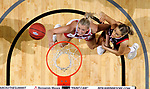 SIOUX FALLS, SD - MARCH 7: Hannah Sjerven #34 of the South Dakota Coyotes battles for a rebound with Claire Killian #11 of the Omaha Mavericks at the 2020 Summit League Basketball Championship in Sioux Falls, SD. (Photo by Dave Eggen/Inertia)