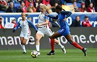 Harrison, N.J. - Sunday March 04, 2018: Lindsey Horan, Aïssatou Tounkara during a 2018 SheBelieves Cup match between the women's national teams of the United States (USA) and France (FRA) at Red Bull Arena.