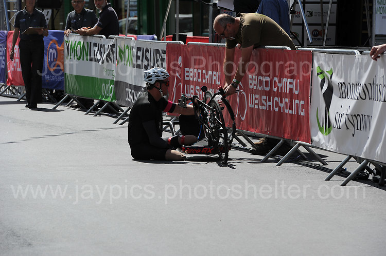 """One of the competitors has mechanical problems during the Abergavenny Festival of Cycling """"Para Grand Prix of Wales"""" race on Sunday 17th 2016<br /> <br /> <br /> Jeff Thomas Photography -  www.jaypics.photoshelter.com - <br /> e-mail swansea1001@hotmail.co.uk -<br /> Mob: 07837 386244 -"""