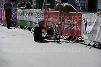 One of the competitors has mechanical problems during the Abergavenny Festival of Cycling &quot;Para Grand Prix of Wales&quot; race on Sunday 17th 2016<br /> <br /> <br /> Jeff Thomas Photography -  www.jaypics.photoshelter.com - <br /> e-mail swansea1001@hotmail.co.uk -<br /> Mob: 07837 386244 -