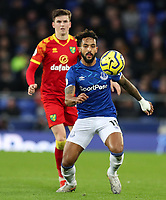 23rd  November 2019; Goodison Park , Liverpool, Merseyside, England; English Premier League Football, Everton versus Norwich City; Theo Walcott of Everton controls the ball under pressure from Sam Byram of Norwich City - Strictly Editorial Use Only. No use with unauthorized audio, video, data, fixture lists, club/league logos or 'live' services. Online in-match use limited to 120 images, no video emulation. No use in betting, games or single club/league/player publications