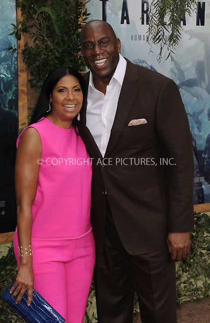 www.acepixs.com<br /> <br /> June 27 2016, LA<br /> <br /> Cookie Johnson and Magic Johnson arriving at the premiere of Warner Bros. Pictures' 'The Legend Of Tarzan' at the TCL Chinese Theatre on June 27, 2016 in Hollywood, California. <br /> <br /> By Line: Peter West/ACE Pictures<br /> <br /> <br /> ACE Pictures Inc<br /> Tel: 6467670430<br /> Email: info@acepixs.com<br /> www.acepixs.com