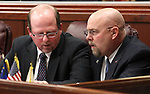 Assembly Republicans Ed Goedhart, left, and Ira Hansen talk on the Assembly floor on April 18, 2011, at the Legislature in Carson City, Nev. .Photo by Cathleen Allison