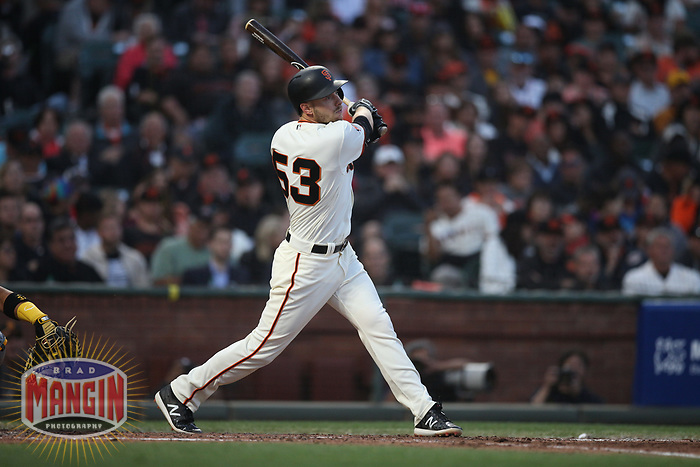 SAN FRANCISCO, CA - AUGUST 11:  Austin Slater #53 of the San Francisco Giants bats against the Pittsburgh Pirates during the game at AT&T Park on Saturday, August 11, 2018 in San Francisco, California. (Photo by Brad Mangin)