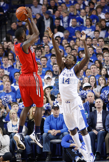 UK freshman forward Michael Kidd-Gilchrist guards Ole Miss senior forward Terrance Henry during the first half of the game against the University of Mississippi in Lexington, Ky., on Saturday, Feb. 18, 2012. Photo by Tessa Lighty | Staff