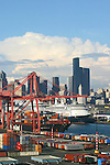 Seattle, Cruise ships bound for Alaska, via the Inside Passage, Port of Seattle, Seattle skyline, waterfront, Elliot Bay, Puget Sound,.