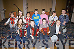 Some of the young musicians who performed at the Barr Na Sraide Comhaltas Concert held in The Ring of Kerry Hotel on Friday night, pictured front l-r; Orla Coffey, Liam Lynch, Conor O'Sullivan, Liam Sugrue, back l-r; Sebastian Stoie, Leah Murphy, Alan Chen, Dylan O'Sullivan, Oisín Moran, Emmet O'Shea & Cathal O'Sullivan.