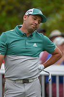 Sergio Garcia (ESP) reacts to his tee shot rolling off the green on 7 during day 4 of the WGC Dell Match Play, at the Austin Country Club, Austin, Texas, USA. 3/30/2019.<br /> Picture: Golffile | Ken Murray<br /> <br /> <br /> All photo usage must carry mandatory copyright credit (© Golffile | Ken Murray)