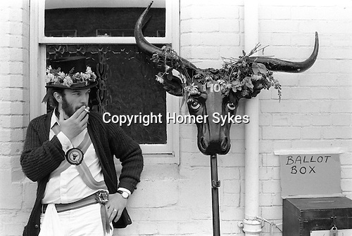 The Mayor of Ock Street, Abingdon, Oxfordshire 1971. The ballot box, and traditional horns.