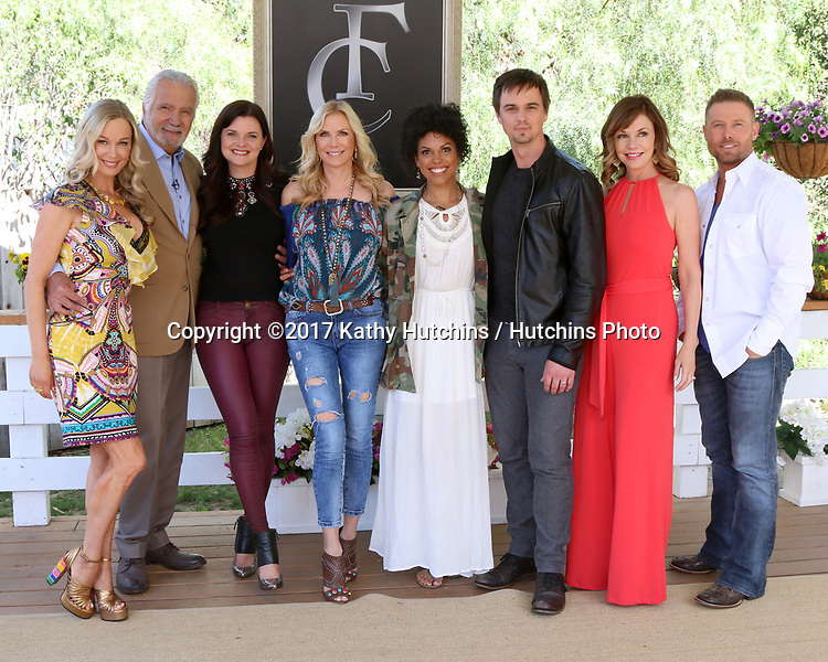 "LOS ANGELES - APR 14:  Jennifer Gareis, John McCook, Heather Tom, Katherine Kelly Lang, Matt Iseman, Karla Mosley, Darin Brooks, Bobbie Eakes, Jacob Young at the ""Home and Family"" Celebrates ""Bold and Beautiful's"" 30 Years at Universal Studios Back Lot on April 14, 2017 in Los Angeles, CA"