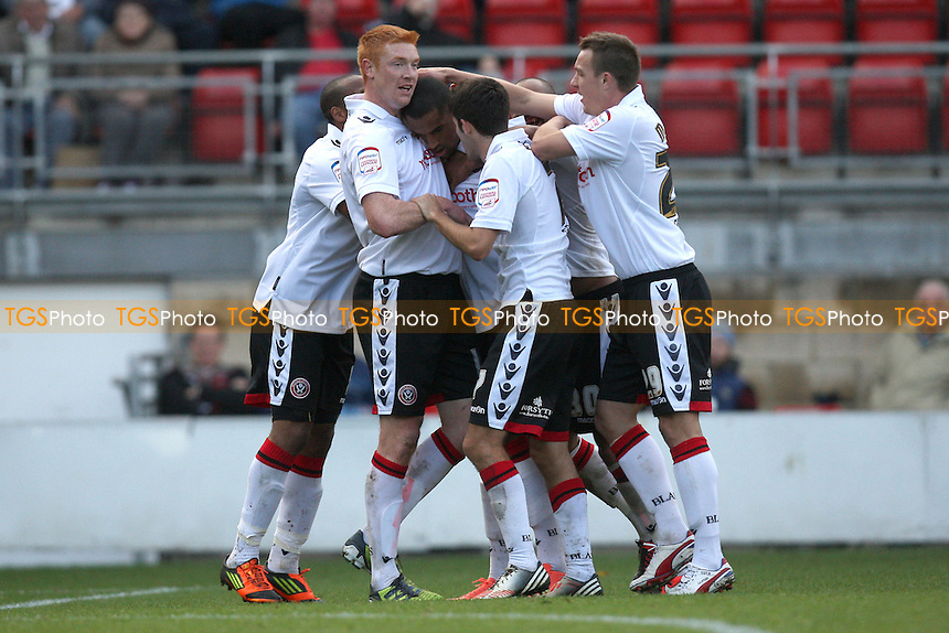 Sheffield United players celebrates their first goal - Leyton Orient vs Sheffield United - NPower League One Football at the Matchroom Stadium, Brisbane Road, London - 06/10/12 - MANDATORY CREDIT: Gavin Ellis/TGSPHOTO - Self billing applies where appropriate - 0845 094 6026 - contact@tgsphoto.co.uk - NO UNPAID USE.