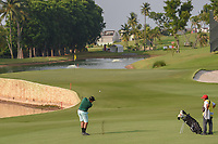 Olaf ALLEN (FIJ) hits his approach shot on 5 during Rd 1 of the Asia-Pacific Amateur Championship, Sentosa Golf Club, Singapore. 10/4/2018.<br /> Picture: Golffile | Ken Murray<br /> <br /> <br /> All photo usage must carry mandatory copyright credit (&copy; Golffile | Ken Murray)