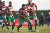 Ilaisa Koaneti makes a determined run during the Counties Manukau Premier Club Rugby game between Waiuku and Ardmore Marist, played at Waiuku on Saturday June 4th 2016. Ardmore Marist won 46 - 3 after leading 39 - 3 at Halftime. Photo by Richard Spranger.