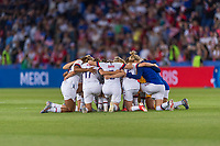PARIS,  - JUNE 28: The USWNT huddles during a game between France and USWNT at Parc des Princes on June 28, 2019 in Paris, France.