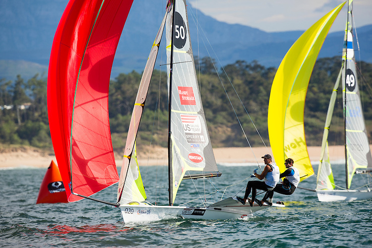 SANTANDER, SPAIN - SEPTEMBER 17:  49er - USA150 - Brad Funk / Trevor Burd in action during Day 6 of the 2014 ISAF Sailing World Championships on September 17, 2014 in Santander, Spain.  (Photo by MickAnderson/SAILINGPIX via Getty Images)