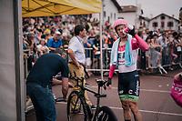 Simon Clarke (AUS/Education First-Drapac) before his start<br /> <br /> Stage 20 (ITT): Saint-P&eacute;e-sur-Nivelle &gt;  Espelette (31km)<br /> <br /> 105th Tour de France 2018<br /> &copy;kramon