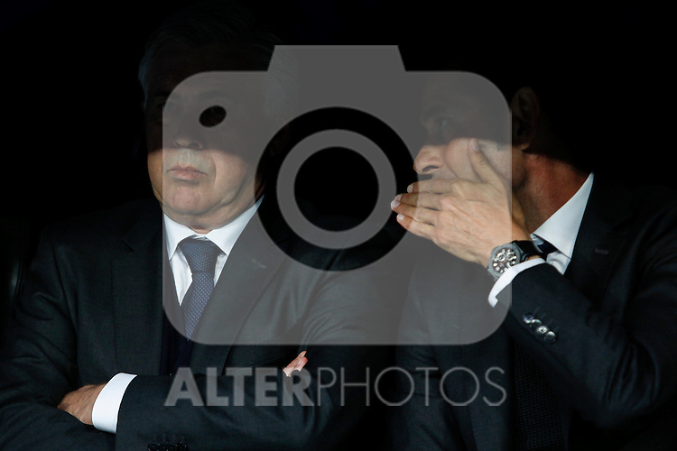 Real Madrid's coach Carlo Ancelotti and second coach Hierro during quarterfinal second leg Champions League soccer match at Santiago Bernabeu stadium in Madrid, Spain. April 22, 2015. (ALTERPHOTOS/Victor Blanco)