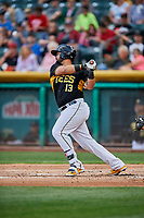 Juan Graterol (13) of the Salt Lake Bees bats against the Sacramento River Cats at Smith's Ballpark on May 17, 2018 in Salt Lake City, Utah. Salt Lake defeated Sacramento 12-11. (Stephen Smith/Four Seam Images)