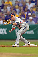 Auburn Tigers first baseman Garrett Cooper #28 on defense against the LSU Tigers in the NCAA baseball game on March 22nd, 2013 at Alex Box Stadium in Baton Rouge, Louisiana. LSU defeated Auburn 9-4. (Andrew Woolley/Four Seam Images).