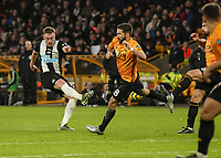 Newcastle United's Sean Longstaff shot is blocked by Wolverhampton Wanderers' Joao Moutinho<br /> Photographer Lee Parker/CameraSport<br /> <br /> The Premier League - Wolverhampton Wanderers v Newcastle United - Saturday 11th January 2020 - Molineux - Wolverhampton<br /> <br /> World Copyright © 2020 CameraSport. All rights reserved. 43 Linden Ave. Countesthorpe. Leicester. England. LE8 5PG - Tel: +44 (0) 116 277 4147 - admin@camerasport.com - www.camerasport.com