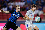 FC Internazionale Defender Milan Skriniar (L) fights for the ball with Chelsea Forward Alvaro Morata (R) during the International Champions Cup 2017 match between FC Internazionale and Chelsea FC on July 29, 2017 in Singapore. Photo by Marcio Rodrigo Machado / Power Sport Images