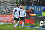 15.11.2011, Imtech Arena, Hamburg, GER, FSP, Deutschland (GER) vs Holland (NED), im Bild  Mesut Oezil (Özil GER #08) schiesst das 3-0 und jubelt mit Thomas Mueller (Müller GER #13)// during the Match Gemany (GER) vs Netherland (NED) on 2011/11/15,  Imtech Arena, Hamburg, Germany.<br /> Foto © nph / Kokenge *** Local Caption ***