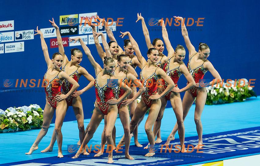 RUS - Russian Federation<br /> CHIGIREVA Vlada KALANCHA Mikhaela<br /> KOLESNICHENKO Svetlana NIZAMOVA Liliia<br /> PATSKEVICH Aleksandra PROKOFYEVA Elena<br /> SHISHKINA Alla SHUROCHKINA Maria<br /> TIMANINA Anzhelika TOPILINA Gelena<br /> Day9 01/08/2015<br /> XVI FINA World Championships Aquatics<br /> Synchro<br /> Kazan Tatarstan RUS July 24 - Aug. 9 2015 <br /> Photo Pasquale Mesiano/Deepbluemedia/Insidefoto