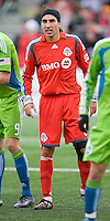 Pablo Vitti of Toronto FC in his first home game waits for a corner kick during MLS action against the Seattle Sounders FC at BMO Field on April 4, 2009. Seattle won 2-0.