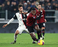 Calcio, Serie A: Juventus - Milan, Turin, Allianz Stadium, November 10, 2019.<br /> Milan's Rafael Leao (r) in action with Juventus' Rodrigo Bentancur (l) during the Italian Serie A football match between Juventus and Milan at the Allianz stadium in Turin, November 10, 2019.<br /> UPDATE IMAGES PRESS/Isabella Bonotto
