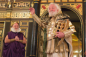 "London, UK. 14 March 2015. Pictured: Phil Whitchurch as Armostes and Patrick Godfrey as Amyclas. Photocall for the play ""The Broken Heart"" by John Ford at the Sam Wanamaker Playhouse, London, UK. The play is directed by Caroline Steinbeis and runs from 12 March to 18 April 2015 at the Sam Wanamaker Playhouse/Globe Theatre."