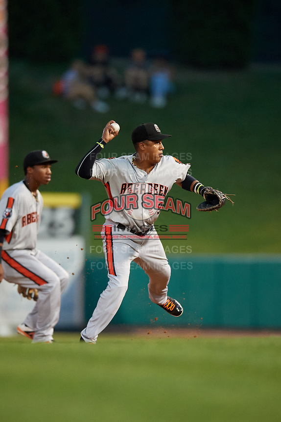 Aberdeen IronBirds first baseman Milton Ramos (9) throws to first base during a game against the Tri-City ValleyCats on August 27, 2018 at Joseph L. Bruno Stadium in Troy, New York.  Aberdeen defeated Tri-City 11-5.  (Mike Janes/Four Seam Images)