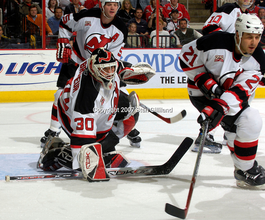New Jersey Devils' goalie Martin Brodeur readies for a shot from the Carolina Hurricanes Thursday, March 15, 2007 at the RBC Center in Raleigh, NC. New Jersey won 3-2.