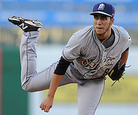 NWA Democrat-Gazette/ANDY SHUPE<br /> Twenty-year-old San Antonio starter Ronald Herrera delivers a pitch Wednesday, Aug. 12, 2015, against the Northwest Arkansas Naturals during the third inning at Arvest Ballpark in Springdale.