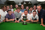 Corrigans Pool Team and Fusion A Team with the Cup they will Play for...Photo NEWSFILE/Jenny Matthews.(Photo credit should read Jenny Matthews/NEWSFILE)....This Picture has been sent you under the condtions enclosed by:.Newsfile Ltd..The Studio,.Millmount Abbey,.Drogheda,.Co Meath..Ireland..Tel: +353(0)41-9871240.Fax: +353(0)41-9871260.GSM: +353(0)86-2500958.email: pictures@newsfile.ie.www.newsfile.ie.FTP: 193.120.102.198.
