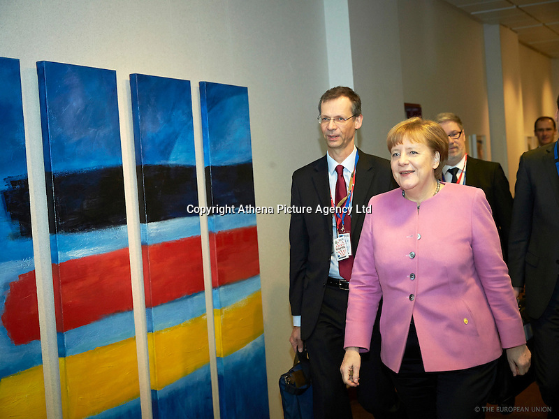 Pictured: German Chancellor Angela Merkel Friday 19 February 2016<br /> Re: European Union summit in Brussels, Belgium.